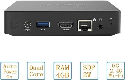 Mini PC Fanless Silent Desktop 4GB RAM, 32GB eMMC, HD Intel Quad Core CPU up to 1.92GHz, 2W SDP, 1000M LAN, Dual Band WiFi, BT4.0, HDMI Port
