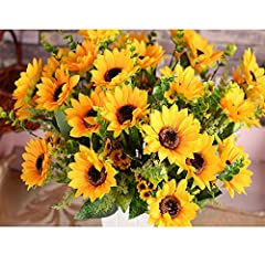 🌻Product specification: The effect picture shown on the main page is 2 bunches of flowers, 7 flowers per bunch.2 bunches per pack. 14 big sunflowers and 60 small sunflowers and 72 leaves in all. The total length is 17.7 inch, the diameter of big sunf...