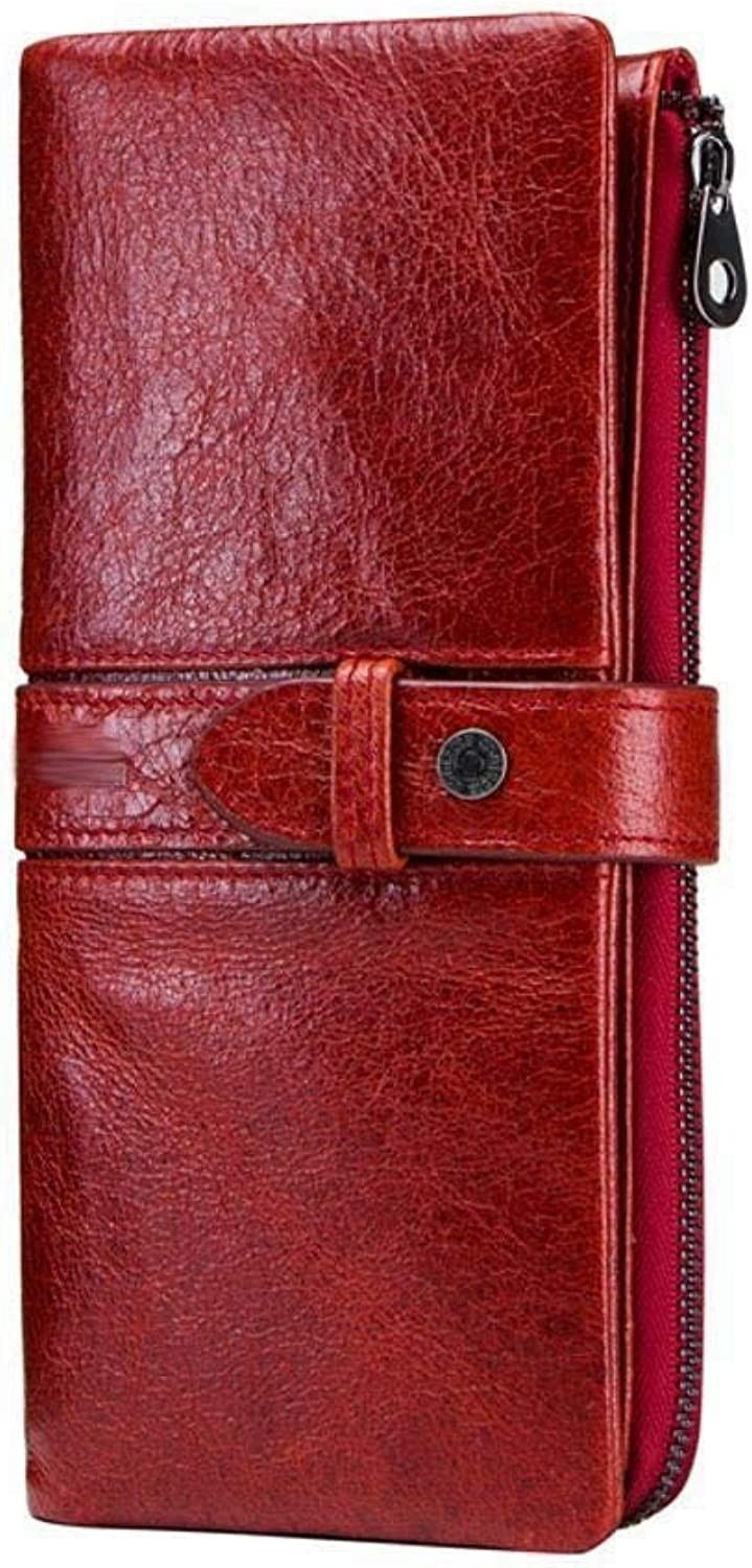 Girls Purse Women's Wallet Lady Purse PU Leather Casual Buckle Large Size Hand Bag (color   B)