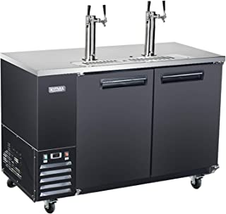 Commercial Dual Tap Kegerator - KITMA 58 Inches Keg Beer Cooler Refrigerator with Digital Display, 4 Faucet, 33°F - 38°F