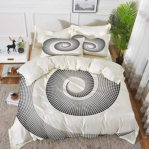 ropa de cama: juego de funda nórdica, chapiteles, curva dimensional en espiral que gira alrededor de un eje giratorio en movimiento paralelo al anillo Cen, juego de funda nórdica de microfibra hipoale