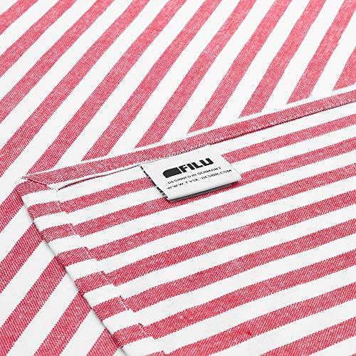 FILU Kissenbezug 50 x 50 cm 2er Pack (Farbe wählbar) Rot/Weiß gestreift - Kissenhülle, Kissen, Sofakissen, Dekokissen, Sitzkissen, 100{6e25fbe6fc7b52d2ebe5af8fdc72a65430f07e4d6e69ec1fd6b3b5af9c77a05f} Baumwolle, Deko für jeden Raum, Garten und Terrasse
