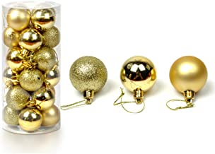 Christmas Baubles Balls Xmas Tree Balls Christmas Decoration Party Ornaments 24 Piece Set (Gold)