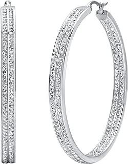 Women's Stainless Steel Pierced Large Hoop Earrings with Rhinestone