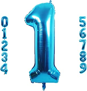 40 inch Blue Number 1 Balloon, Big Size Digit Foil Mylar Helium Balloons for Birthday Party Celebration Decoration Wedding...