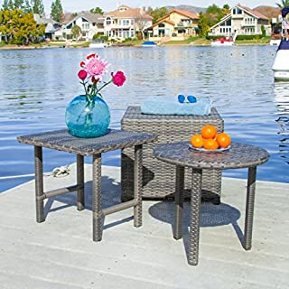 Christopher Knight Home 284925 Lakeport Patio Furniture Grey 3 Piece Outdoor Wicker Side Table Set