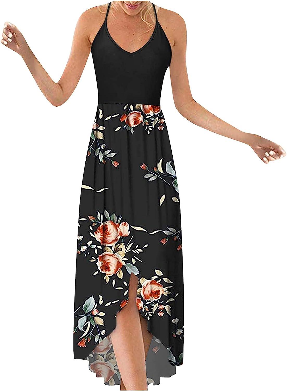 Sexy Maxi Dress for Women,Women's Bohemian Printed V Neck Sleeveless Beach Party Maxi Dress Sexy Summer Casual Long Dresses
