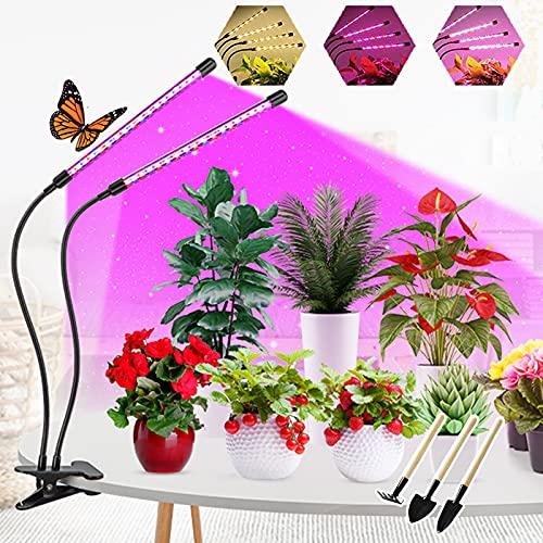Luz Para Crecimiento Plantas, 2 Cabezales 40Led Luces Led Cultivo Interior Grow Light Espectro Completo Luminarias Crecimiento Invernaderos Cultivador Temporizador Automatico Tubo Giratorio 360°