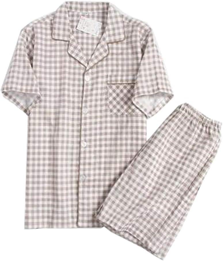Alien Storehouse Men's Cotton Short Pajama Set Two-Piece Suit Short Sleeve Sleepwear, Coffee