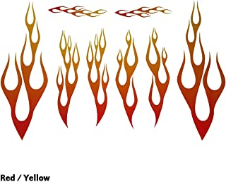 Wild Dingos LLC Full Color Flame Decal Kit Golf Cart, ATV, RC Truck, UTV, Motorcycle, Helmet Large (RED)