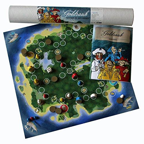 Goldraub, das Piraten Brettspiel. Mit großen Piraten Spielfiguren aus Holz.