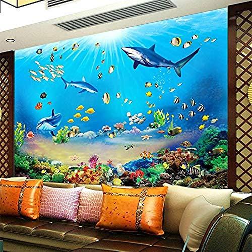 Carta da parati 3D HD subacquea con squalo del mondo tropicale pesci 3D murale moderno acquario soggiorno TV camera da letto decorazione parete