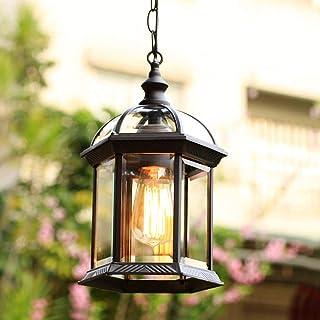 Lámpara colgante de exterior rústica en antigüedad,cadenas de metal luces de techo de suspensión,E27 230V lámpara de techo iluminación de patio jardín restaurante corredor villa Gazebo luz 21 * 32Cm
