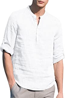 Beotyshow Mens Henley Shirts Long Sleeve Cotton Linen Loose Casual Polo Tops T-Shirts for Men