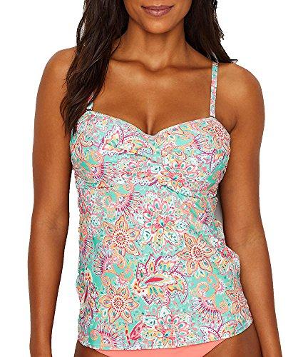 Sunsets Women's Iconic Twist Bra Sized Bandeau Tankini Top Swimsuit, Fiesta Flora, 36DD