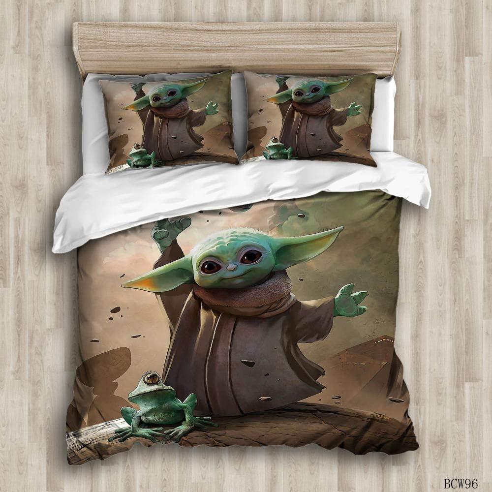 135 X 200 cm Jugendliche und Erwachsene Geeignet f/ür Kinder 1 Bettbezug und 2 Kissenbez/üge Bettw/äsche 3D- Bettbezug aus Mikrofaser Baby Yoda