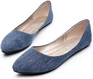 DRV5G7F Women Soft Denim Flats Blue Fashion Basic Pointy Toe Ballerina Ballet Flat Slip On Office Shoes