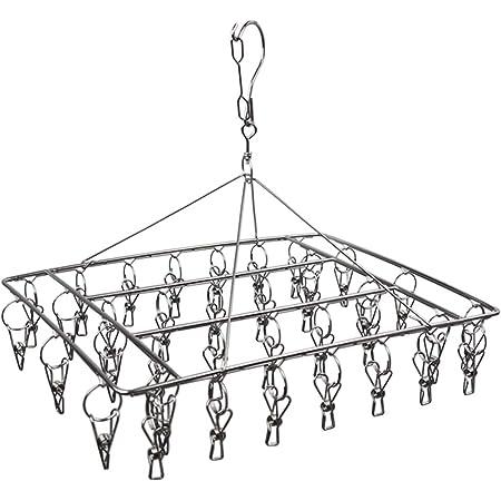 WEERSTONE Stendibiancheria in acciaio inox con gancio girevole, antivento, per calze, biancheria intima, reggiseni, vestiti per bambini, guanti (36 mollette per bucato), 1 confezione