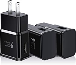 Adaptive Fast Charger Adapter Compatible with Galaxy S10 S9 S8 S7 Edge/Plus/Active/Note 10 9 8 S7 Edge S6 Edge Note 5 and LG G Series Quick Travel Wall Charger Plug (3-Pack, Black)
