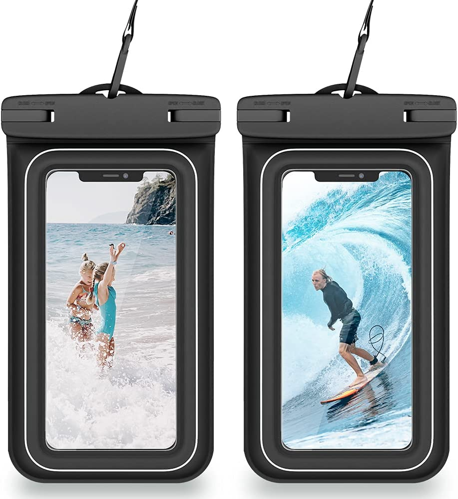 VEGO Floating Waterproof Phone Pouch, [2 Pack] Universal Upgraded IPX8 Waterproof Cellphone Case Dry Bag with Lanyard for iPhone 12 Pro 11 Xs XR 8 7 Galaxy S21 S20 S10 Note 10 up to 7