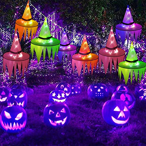2021 Halloween Glow Witch Hat With Hook Cap Led Lights Hanging Butterfly Hat Halloween Decoration Battery Powered Glow Witch Hat