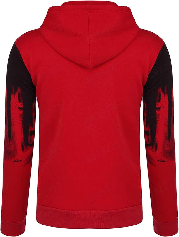 XXBR Zipper Hoodies for Mens, Fall Men's Ink-Splash Printed Long Sleeve Hooded Sweatshirts Drawstring Casual Jackets