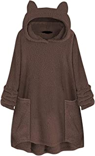 FDelinK Womens Oversized Warm Double Fuzzy Hoodies Casual Loose Pullover Hooded Sweatshirt Outwear