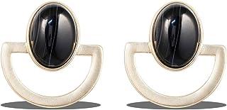 Karatcart Gold Metal Black Turquoise Earrings for Women