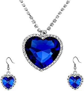 Yellow Chimes Valentine Special Mesmerizing Titanic Blue Ocean Heart Austrian Crystal Pendent Set by Yellow Chimes Silver ...