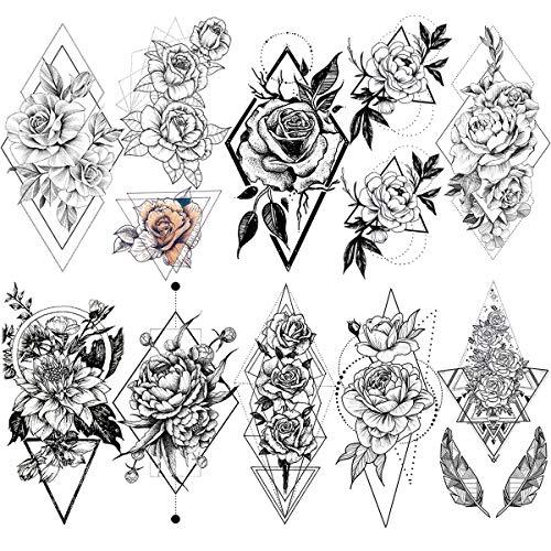 LAROI 10 Blätter Geometrische Pfirsich Gänseblümchen Temporäre Schwarze Tattoos Aufkleber Frauen Mädchen Gefälschte wasserdichte geometrische Rose Tattoos Temporäre Erwachsene Arm Damen Tatoos