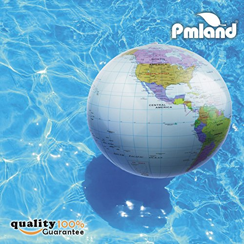 PMLAND Inflatable World Globe Beach Educational Balls 6-Counts, 14-16 inch, Light Blue
