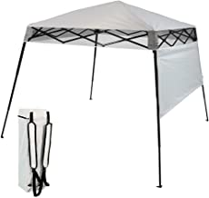 Sunnydaze Slant Leg Compact Backpack Canopy Tent, Instant Pop-Up, Small 6x6 Foot Top, 7.5x7.5 Foot Bottom, Light Grey