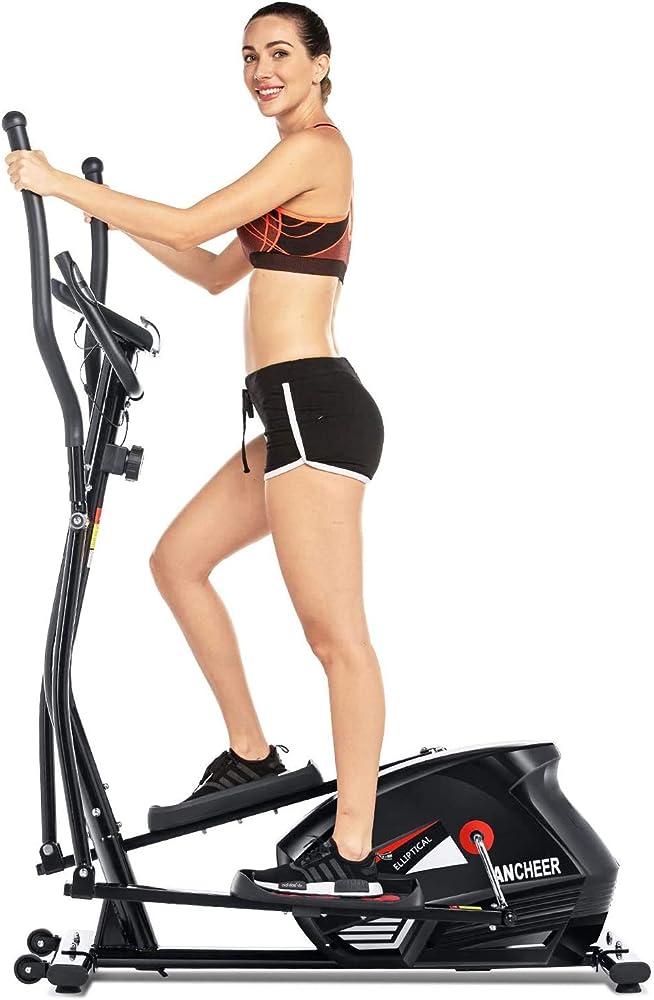 Ancheer, macchina, cyclette ellittica, con 10 livelli di resistenza, display lcd/porta tablet, nero