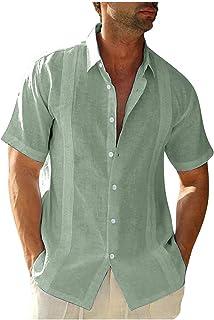 Men's Casual Cotton Linen Shirts Short Sleeve Solid Color Beach Tops Summer Relaxed-Fit Button Down Hawaiian Shirt