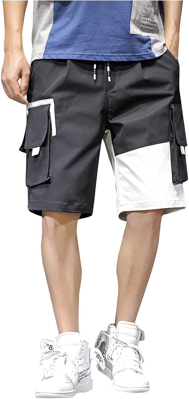 YANG-YI Men's Cargo Shorts Summer Plus Size Patchwork Bottoms Basic Leisure Sports Short Pants with Pockets
