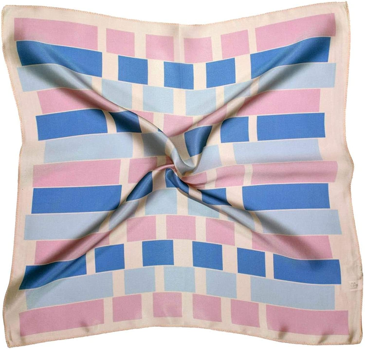 bluee Pink Abstract Printed Small Thick Silk Square Scarf