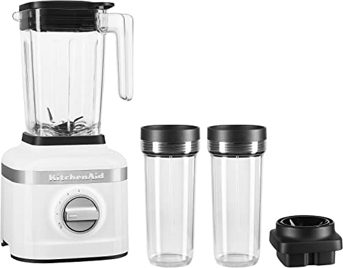 new arrival KitchenAid KSB1332WH 48oz, 3 Speed Ice Crushing Blender 2021 with 2 x 16oz Personal Jars to Blend and online Go, White sale