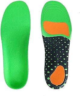 00123 吸汗性/アーチサポート/高弾性厚通気性スーパーショック/スポーツインソール 00999 (Color : Green, Size : 35~40)