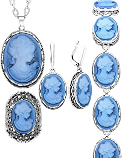 Anstory 4 pcs Lady Queen Cameo Jewelry Sets Vintage Look Necklace Earrings Ring Bracelet Fashion Jewelry