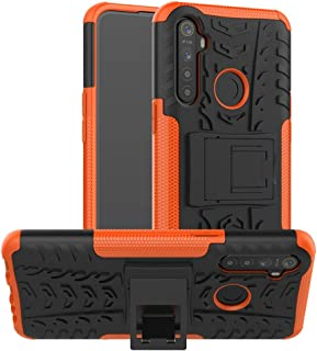 For OPPO Realme 5 Tire Texture TPU + PC Shockproof Case with Holder New(Pink) Hopezs (Color : Orange)