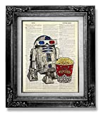 Funny Star Wars Art Print, R2D2 with Popcorn Poster, Dictionary Art Print, Funny Office Gift for Man, Retro Movie Art Print, Living Room Decor, Cool Boyfriend Gift for Husband Birthday Present