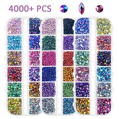 Nail Art Strass 4000Pcs, Dos plat Tranchant/Demi-tour/Oeil de cheval Strass Multicolore Cristal Gem pour la décoration des ongles (pince à ramassage gratuit)