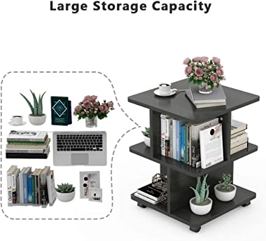 Tribesigns Modern Side End Table for Living Room, 3 Tier Bedside Table Night Stand with Wheels and Storage Shelf for Bed Room