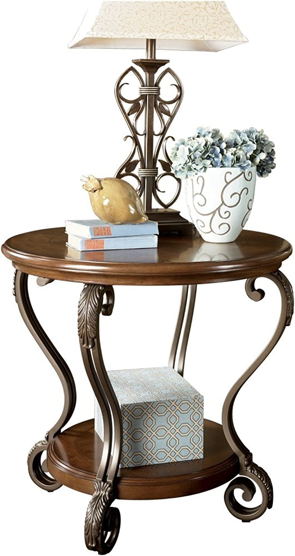 Ashley Furniture Signature Design - Nestor End Table - Traditional Vintage Style - Round - Medium Brown