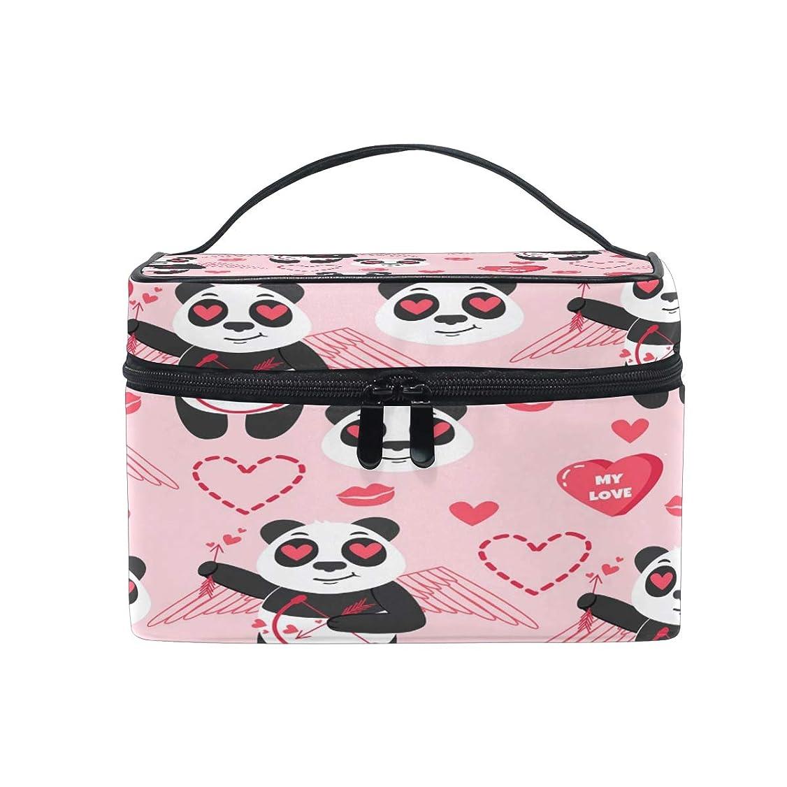 衰える路地ロデオUOOYA バレンタインデー パンダ Panda おしゃれ メイクボックス 大容量 持ち運び メイクポーチ 人気 小物入れ 通学 通勤 旅行用 プレゼント用