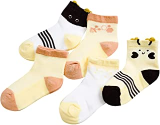 EFINNY 5 Pair Summer Toddler Cartoon Print Socks Kids Baby Cotton Breathable Mesh Socks Anti Slip