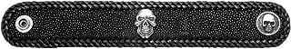 Wild Things Black Stingray Leather Bracelet w/Black Cowhide Lacing & Skull Escutcheon