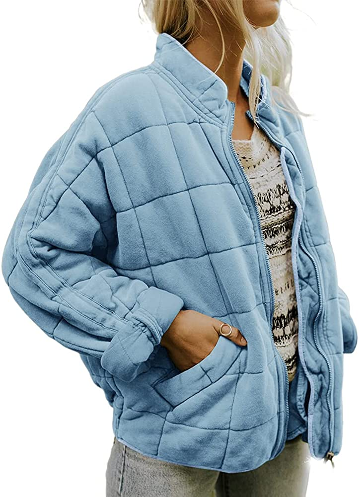 Womens Casual Dolman Quilted Jackets Loose Drop Shoulder Lightweight Coat Long Sleeve Zipper with Pockets Outwear