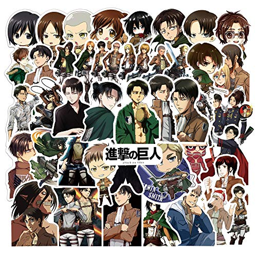 blue hair 50PCS Anime Attack on Titan Stickers, Waterproof Laptop Stickers, Vinyl Stickers, Water Bottle Bike Bumper Luggage Skateboard Graffiti, Best Gift for Kids,Children,Teen (Attack on Titan)