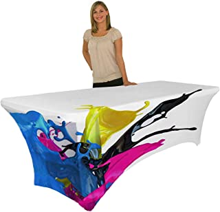 Mastere Custom Print Table Covers with Logo 6ft Stretch Table Cloth Full Colors Table Cloth for Trade Show Events with Your Own Logo Graphics